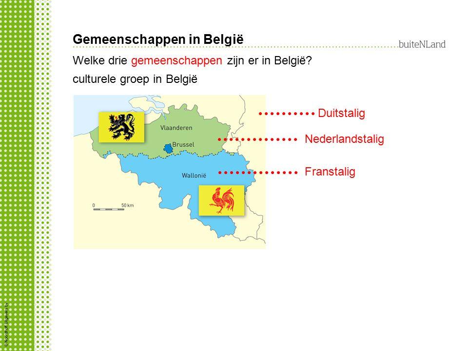 Gemeenschappen in België Nederlandstalig Duitstalig Franstalig Welke drie gemeenschappen zijn er in België? culturele groep in België