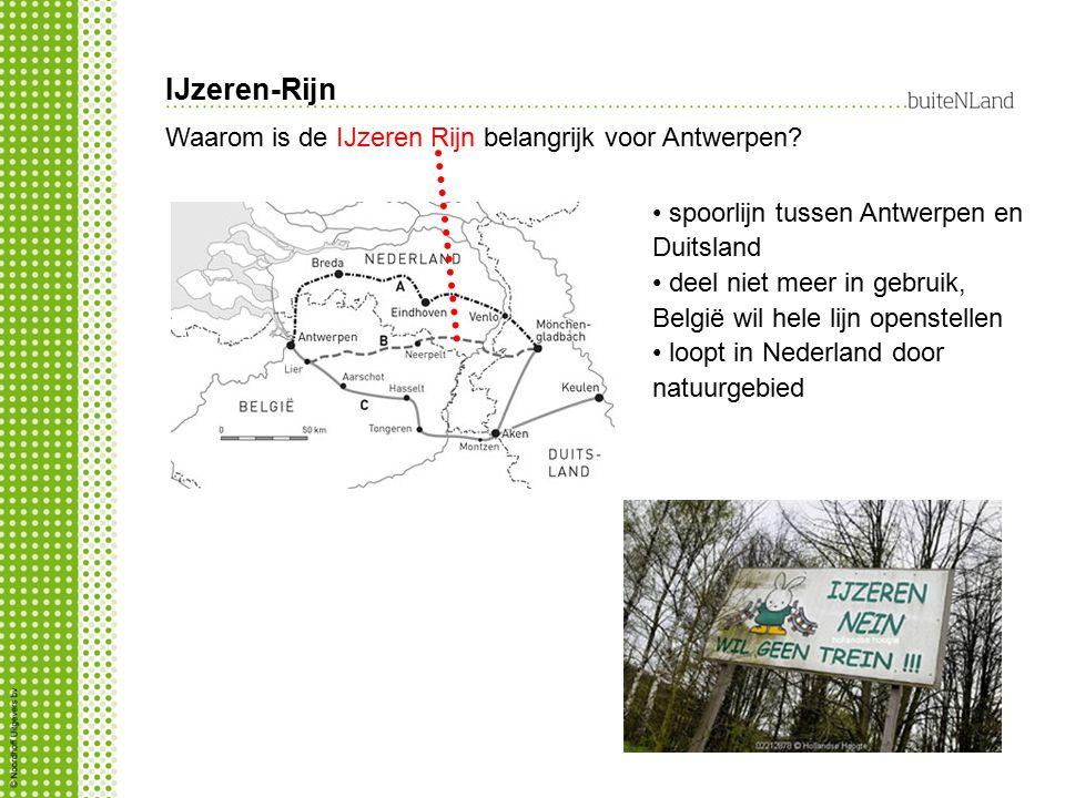 IJzeren-Rijn Waarom is de IJzeren Rijn belangrijk voor Antwerpen? spoorlijn tussen Antwerpen en Duitsland deel niet meer in gebruik, België wil hele l