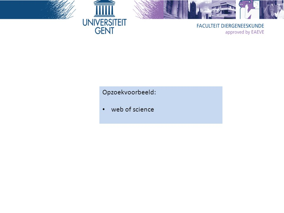Opzoekvoorbeeld: web of science