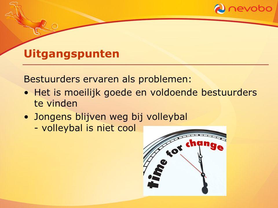 Uitgangspunten Bestuurders ervaren als problemen: Het is moeilijk goede en voldoende bestuurders te vinden Jongens blijven weg bij volleybal - volleybal is niet cool