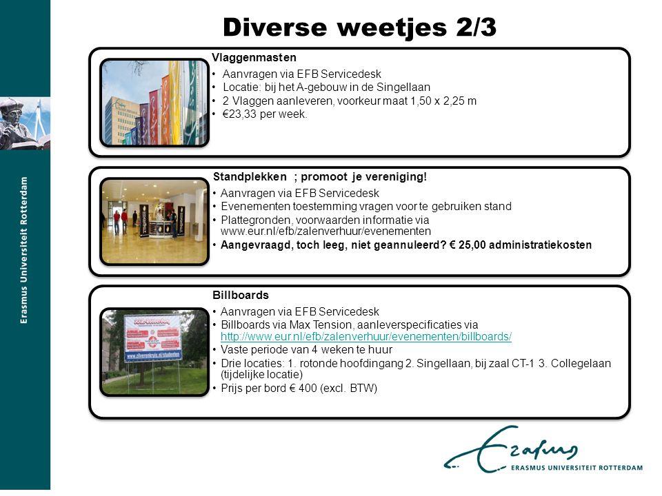 Diverse weetjes 2/3 Vlaggenmasten Aanvragen via EFB Servicedesk Locatie: bij het A-gebouw in de Singellaan 2 Vlaggen aanleveren, voorkeur maat 1,50 x 2,25 m €23,33 per week.