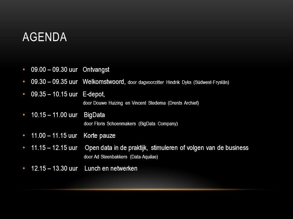 AGENDA 13.30 – 14.30 uur Drie parallelle workshops: 1.