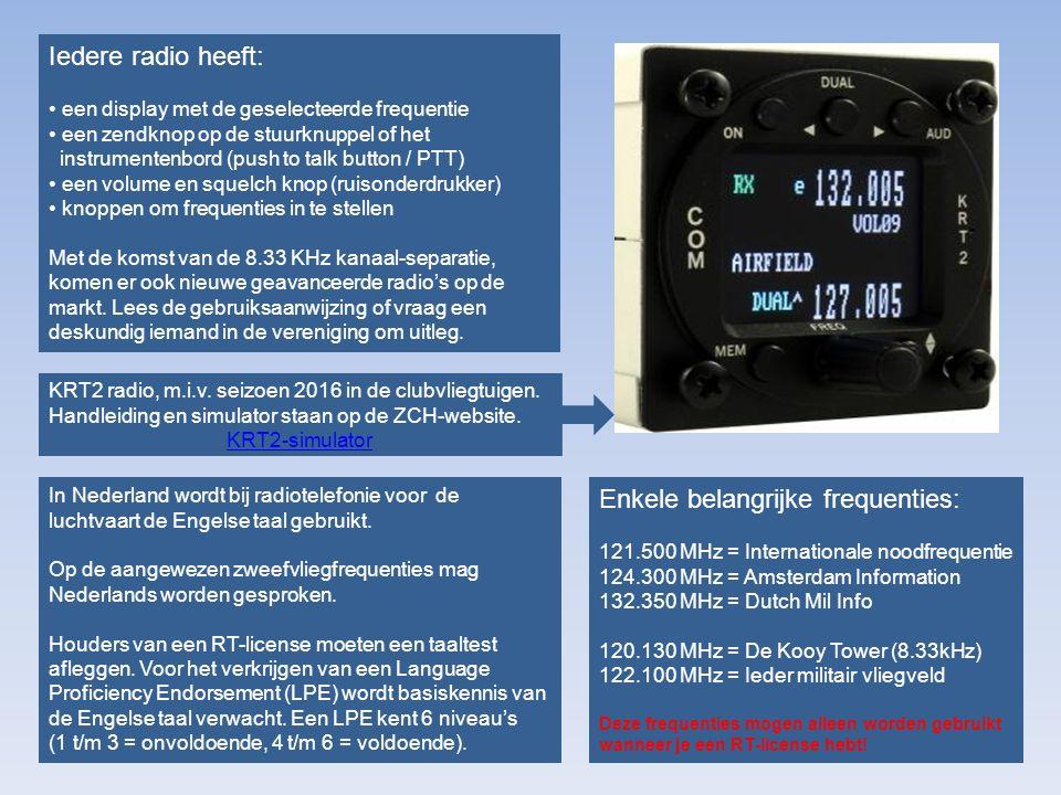 Radiovergunningen In de luchtvaart is voor het gebruik van frequenties (en bijbehorende apparatuur) een vergunning vereist: Recreatieve vergunning Beperkte vergunning (VFR RT) Volledige vergunning (VFR+IFR RT) Zie ook: Agentschap Telecom/LuchtvaartAgentschap Telecom/Luchtvaart Met een recreatieve vergunning mag je zonder radio-telefonie aantekening alleen binnen Nederland gebruik maken van de volgende frequenties: Met een beperkte vergunning en een RT-licentie (met LPE) is het toegestaan om alle VHF luchtvaart frequenties, óók internationaal, te gebruiken: De beperkte vergunning kan worden uitgebreid tot een volledige vergunning en geeft dan recht op het gebruik van deze apparatuur en frequenties: OF