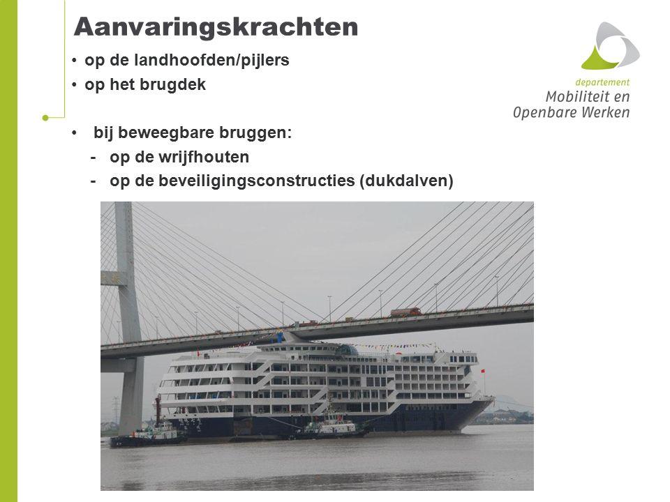 Aanvaringskrachten op de landhoofden/pijlers op het brugdek bij beweegbare bruggen: - op de wrijfhouten - op de beveiligingsconstructies (dukdalven)