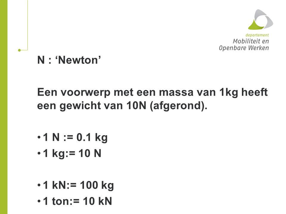 N : 'Newton' Een voorwerp met een massa van 1kg heeft een gewicht van 10N (afgerond). 1 N := 0.1 kg 1 kg:= 10 N 1 kN:= 100 kg 1 ton:= 10 kN