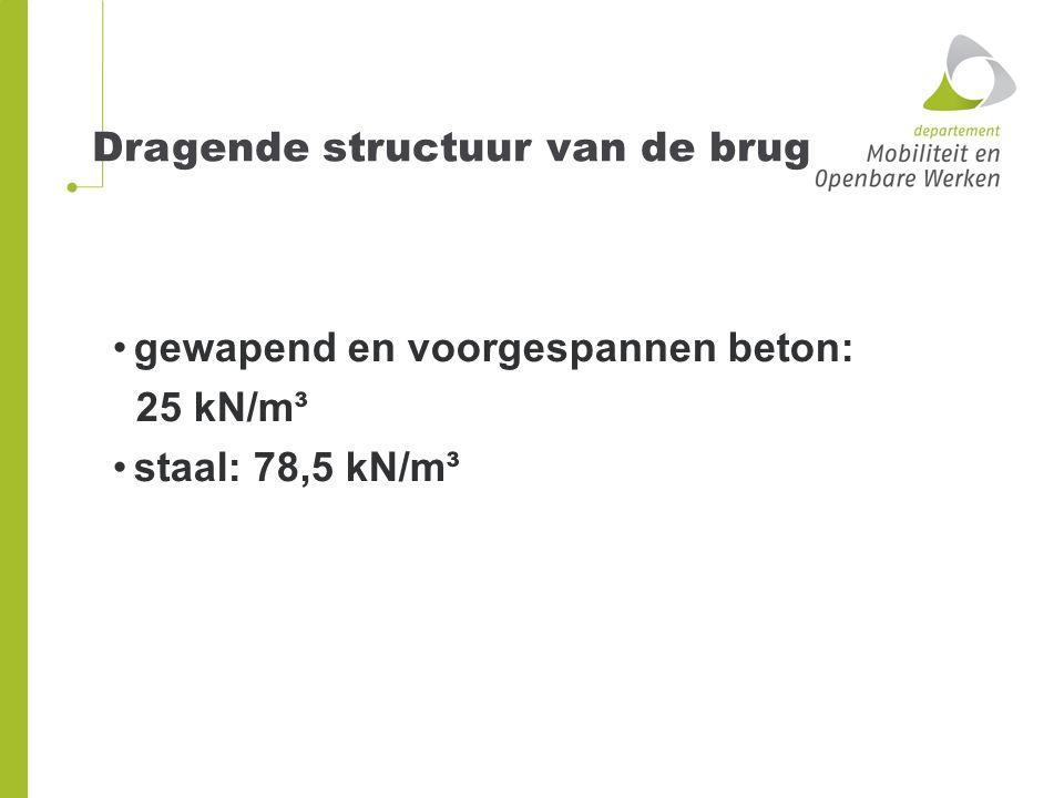 5kN/m2 Puntlast 10kN Bijkomend op voetgangersbrug: Onderhoudsvoertuig: 2 assen van 30 kN Accidentele aanwezigheid van voertuig (indien geen afschermingsconstructie): 1 as 40 kN en 1 as 80kN
