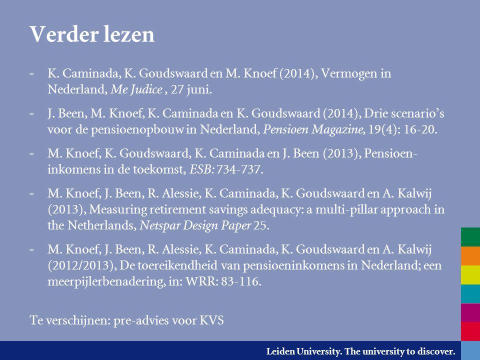 Leiden University. The university to discover. Verder lezen - K. Caminada, K. Goudswaard en M. Knoef (2014), Vermogen in Nederland, Me Judice, 27 juni