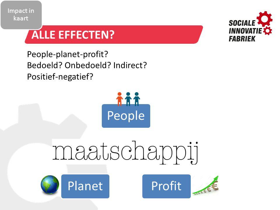 TITELSTIJL VAN MODEL BEWERKEN ALLE EFFECTEN? PeopleProfitPlanet People-planet-profit? Bedoeld? Onbedoeld? Indirect? Positief-negatief? Impact in kaart