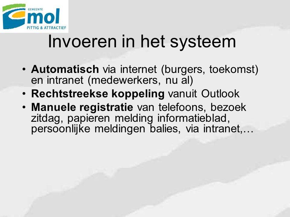 Invoeren in het systeem Automatisch via internet (burgers, toekomst) en intranet (medewerkers, nu al) Rechtstreekse koppeling vanuit Outlook Manuele r