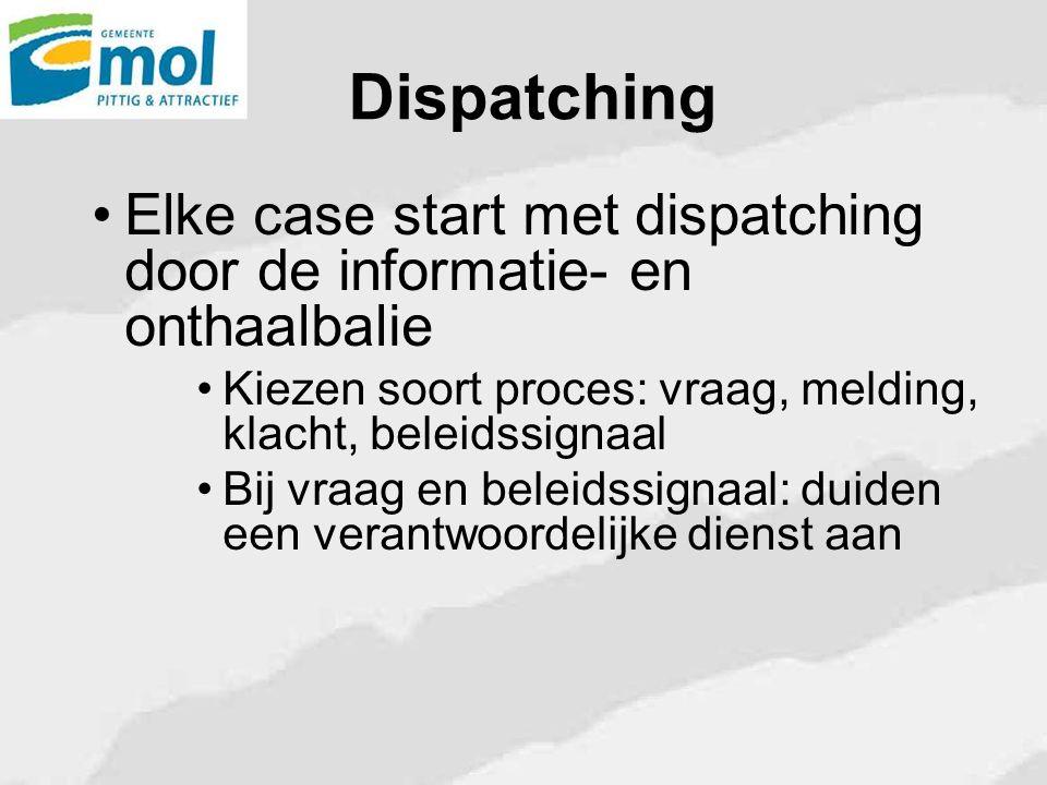 Dispatching Elke case start met dispatching door de informatie- en onthaalbalie Kiezen soort proces: vraag, melding, klacht, beleidssignaal Bij vraag