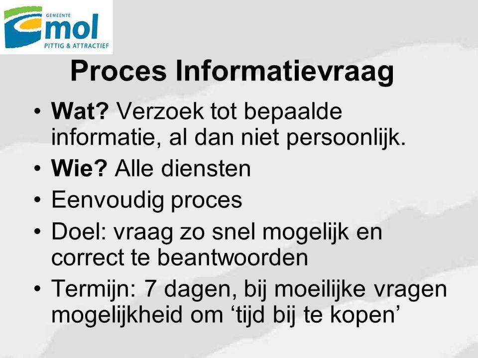 Proces Informatievraag Wat? Verzoek tot bepaalde informatie, al dan niet persoonlijk. Wie? Alle diensten Eenvoudig proces Doel: vraag zo snel mogelijk