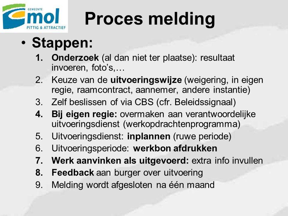 Proces melding Stappen: 1.Onderzoek (al dan niet ter plaatse): resultaat invoeren, foto's,… 2.Keuze van de uitvoeringswijze (weigering, in eigen regie