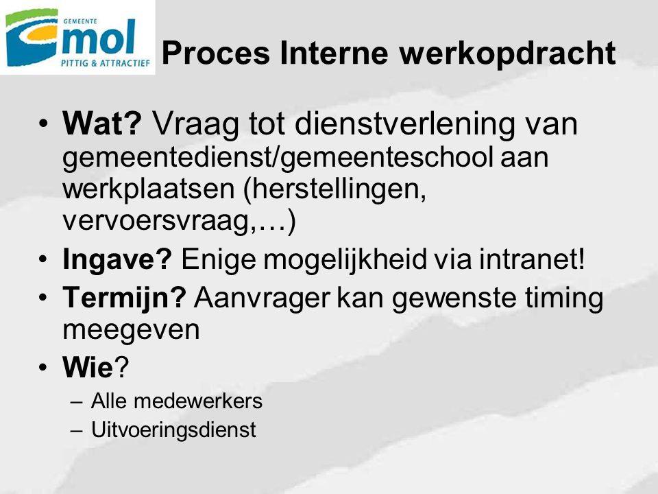 Proces Interne werkopdracht Wat? Vraag tot dienstverlening van gemeentedienst/gemeenteschool aan werkplaatsen (herstellingen, vervoersvraag,…) Ingave?