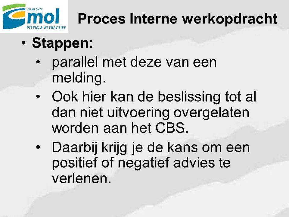 Proces Interne werkopdracht Stappen: parallel met deze van een melding. Ook hier kan de beslissing tot al dan niet uitvoering overgelaten worden aan h