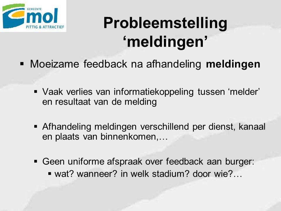 Probleemstelling 'meldingen'  Moeizame feedback na afhandeling meldingen  Vaak verlies van informatiekoppeling tussen 'melder' en resultaat van de m