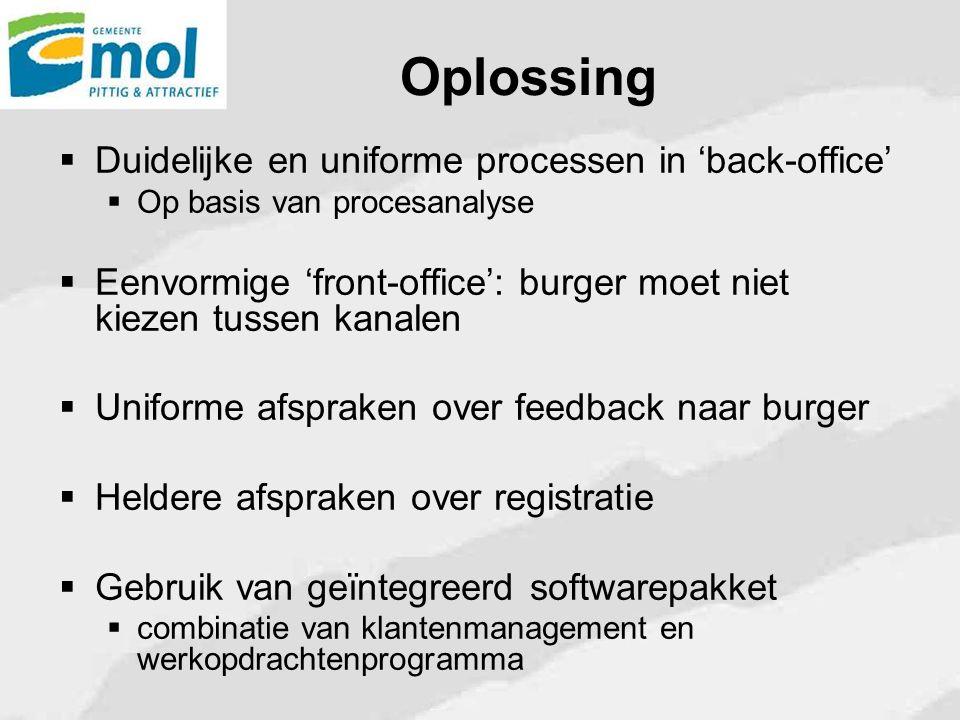 Oplossing  Duidelijke en uniforme processen in 'back-office'  Op basis van procesanalyse  Eenvormige 'front-office': burger moet niet kiezen tussen