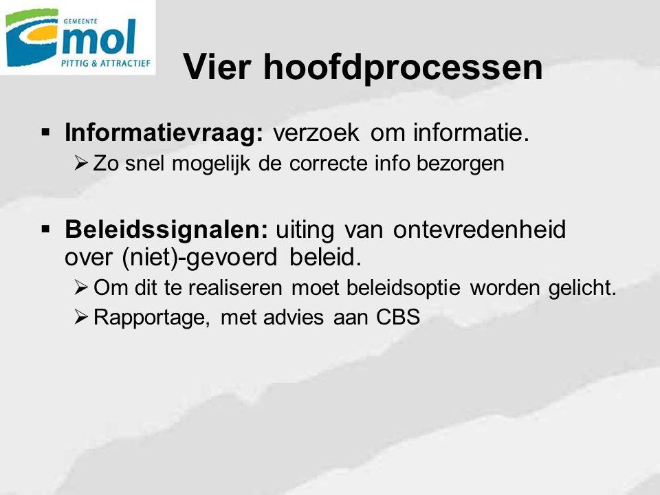 Vier hoofdprocessen  Informatievraag: verzoek om informatie.  Zo snel mogelijk de correcte info bezorgen  Beleidssignalen: uiting van ontevredenhei