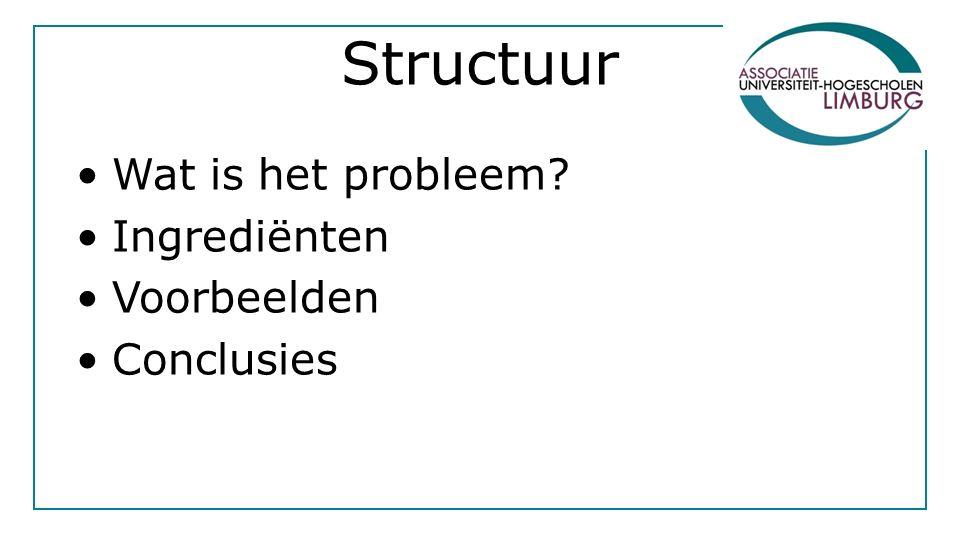 Structuur Wat is het probleem Ingrediënten Voorbeelden Conclusies