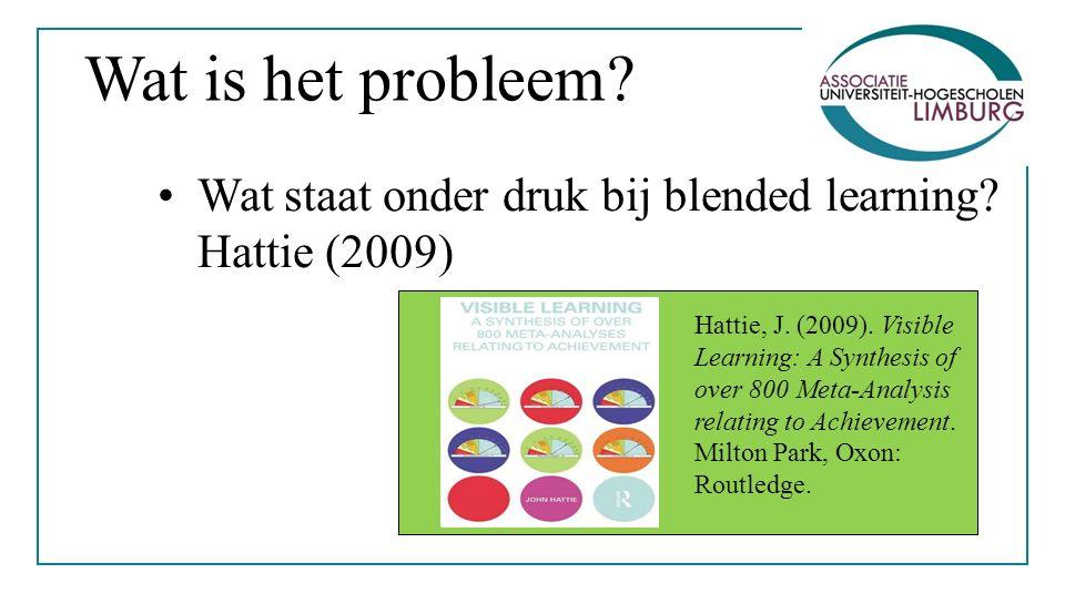 Wat is het probleem. Wat staat onder druk bij blended learning.