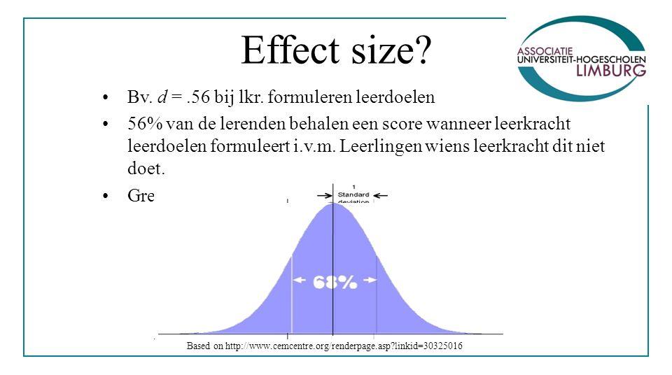 Effect size. Bv. d =.56 bij lkr.