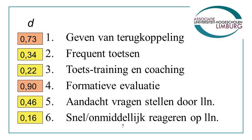 1.Geven van terugkoppeling 2.Frequent toetsen 3.Toets-training en coaching 4.Formatieve evaluatie 5.Aandacht vragen stellen door lln.