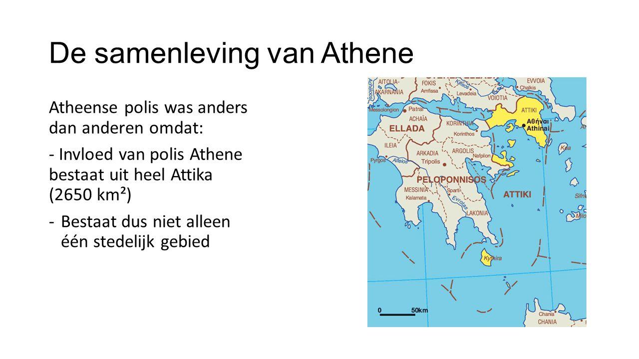 De samenleving van Athene Atheense polis was anders dan anderen omdat: - Invloed van polis Athene bestaat uit heel Attika (2650 km²) -Bestaat dus niet
