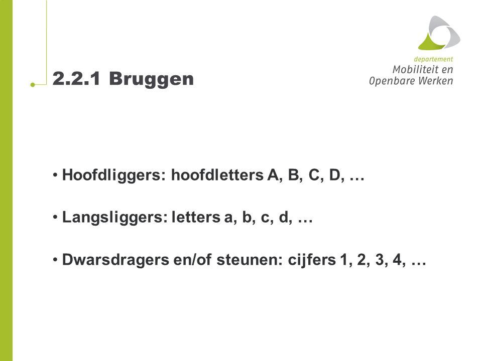 2.2.1 Bruggen Hoofdliggers: hoofdletters A, B, C, D, … Langsliggers: letters a, b, c, d, … Dwarsdragers en/of steunen: cijfers 1, 2, 3, 4, …