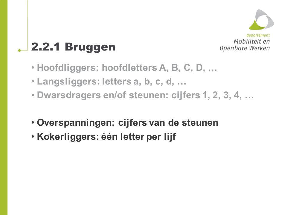 2.2.1 Bruggen Hoofdliggers: hoofdletters A, B, C, D, … Langsliggers: letters a, b, c, d, … Dwarsdragers en/of steunen: cijfers 1, 2, 3, 4, … Overspann