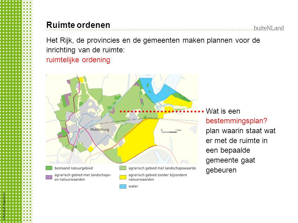 Ruimte ordenen Het Rijk, de provincies en de gemeenten maken plannen voor de inrichting van de ruimte: ruimtelijke ordening Wat is een bestemmingsplan