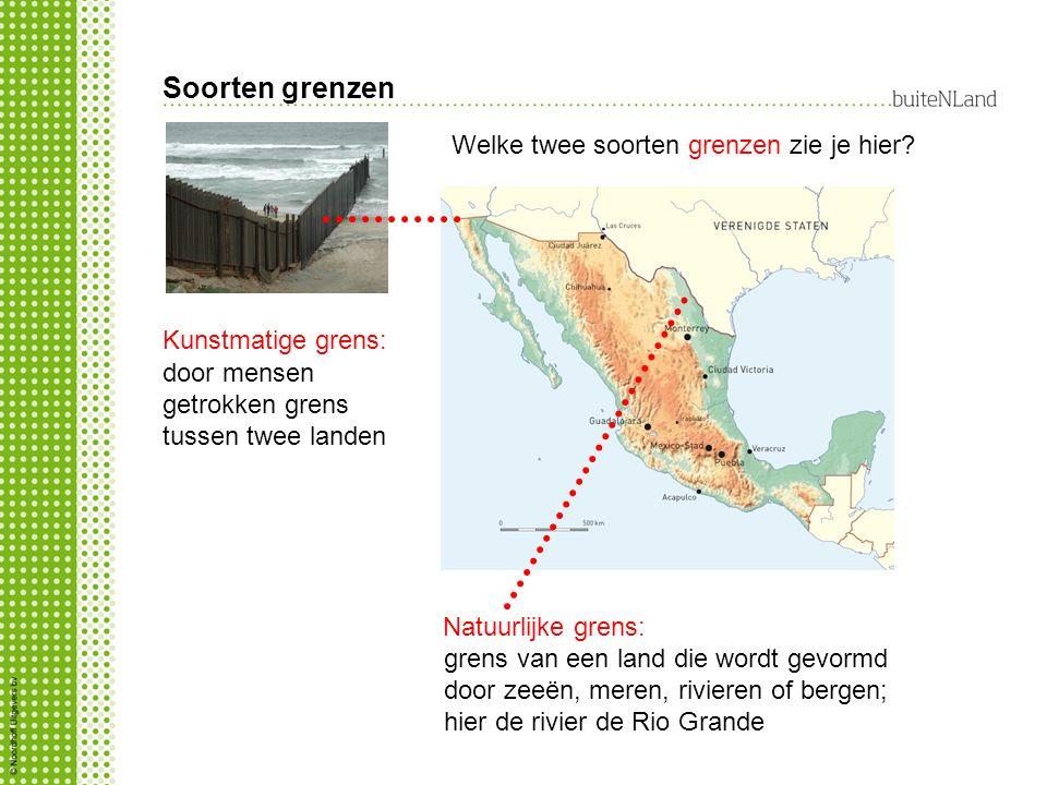 Soorten grenzen Kunstmatige grens: grens van een land die wordt gevormd door zeeën, meren, rivieren of bergen; hier de rivier de Rio Grande Natuurlijk