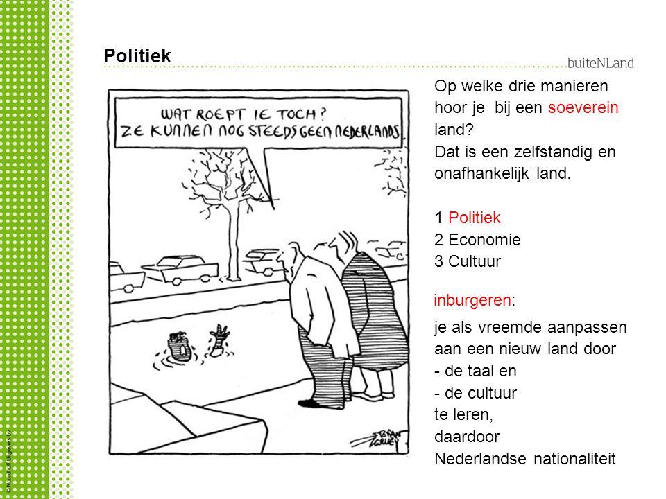 Politiek inburgeren: je als vreemde aanpassen aan een nieuw land door - de taal en - de cultuur te leren, daardoor Nederlandse nationaliteit Op welke