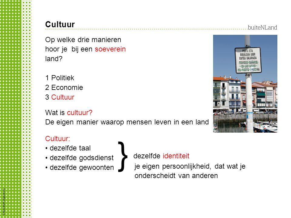 Cultuur Wat is cultuur? De eigen manier waarop mensen leven in een land Cultuur: dezelfde taal dezelfde godsdienst dezelfde gewoonten dezelfde identit