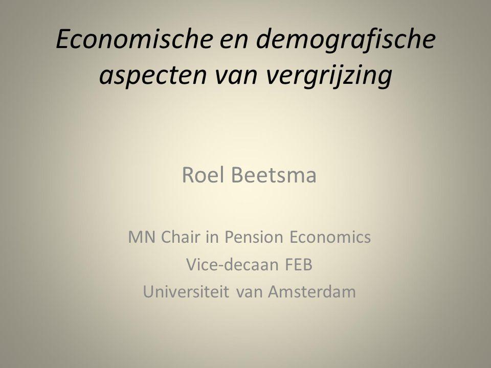 Macro-economische gevolgen Effecten op economische groei EU negatief: – Door daling arbeidsaanbod – Compositie arbeidsaanbod – werkenden gemiddeld ouder, dus minder innovatie (?) – Verschuiving naar niet-verhandelbare producten, m.n.