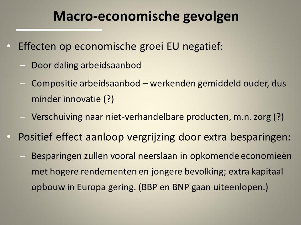 Macro-economische gevolgen Effecten op economische groei EU negatief: – Door daling arbeidsaanbod – Compositie arbeidsaanbod – werkenden gemiddeld ouder, dus minder innovatie ( ) – Verschuiving naar niet-verhandelbare producten, m.n.