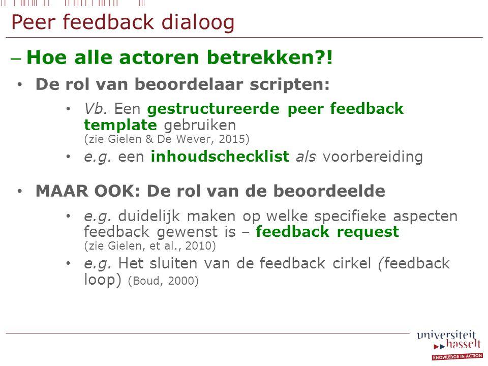 Peer feedback dialoog – Hoe alle actoren betrekken?! De rol van beoordelaar scripten: Vb. Een gestructureerde peer feedback template gebruiken (zie Gi