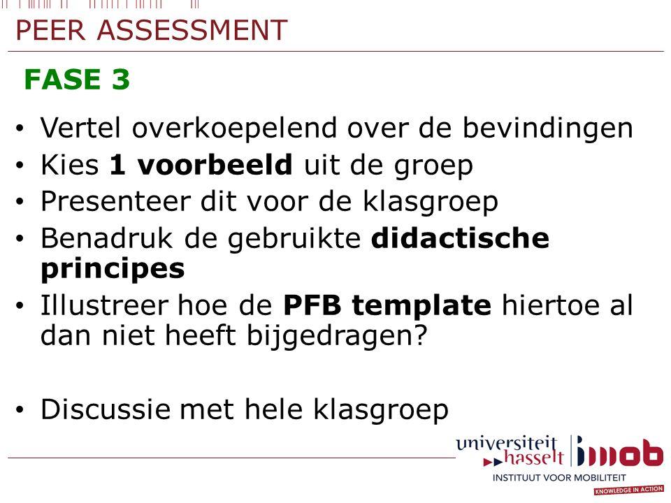 PEER ASSESSMENT FASE 3 Vertel overkoepelend over de bevindingen Kies 1 voorbeeld uit de groep Presenteer dit voor de klasgroep Benadruk de gebruikte d