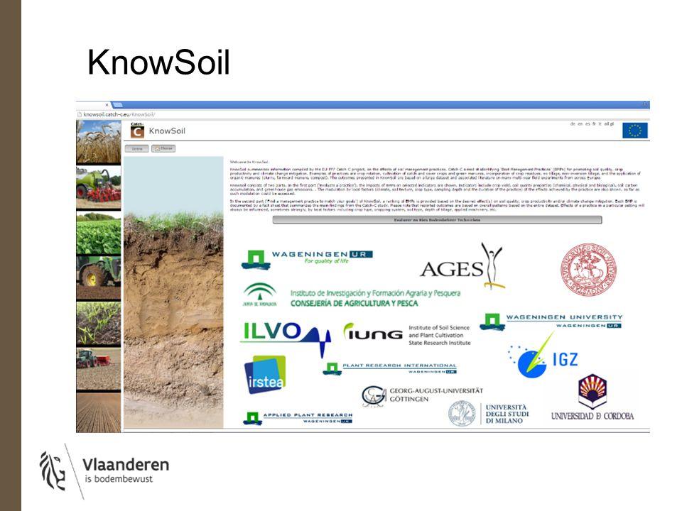 KnowSoil 1. Evalueer een landbouwpraktijk 2. Selecteer een landbouwpraktijk