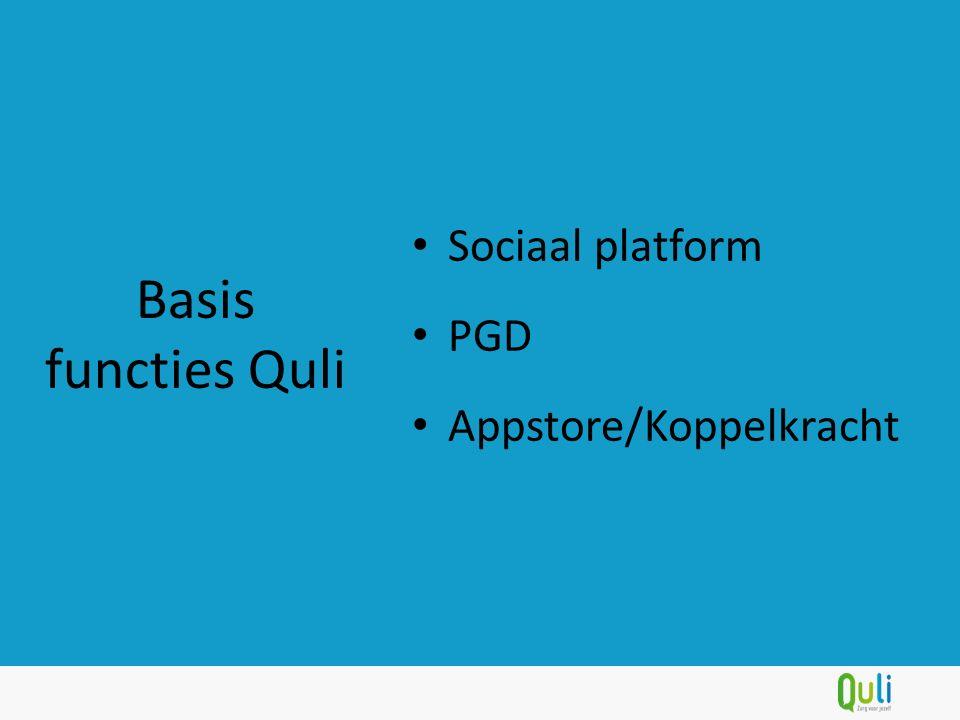 Sociaal platform PGD Appstore/Koppelkracht Basis functies Quli