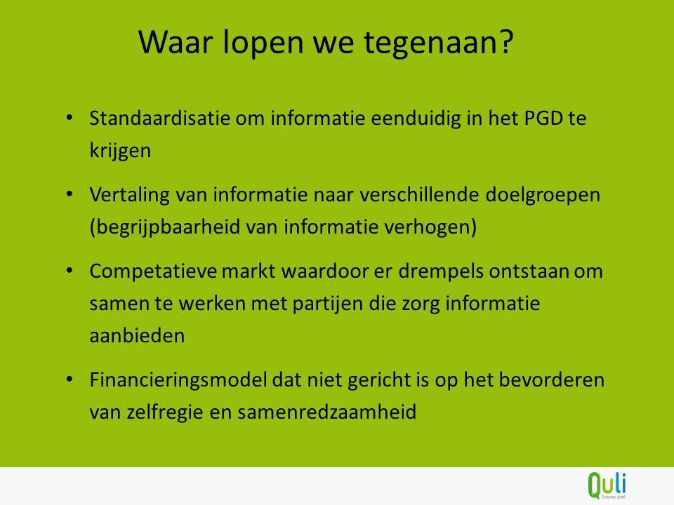 Standaardisatie om informatie eenduidig in het PGD te krijgen Vertaling van informatie naar verschillende doelgroepen (begrijpbaarheid van informatie