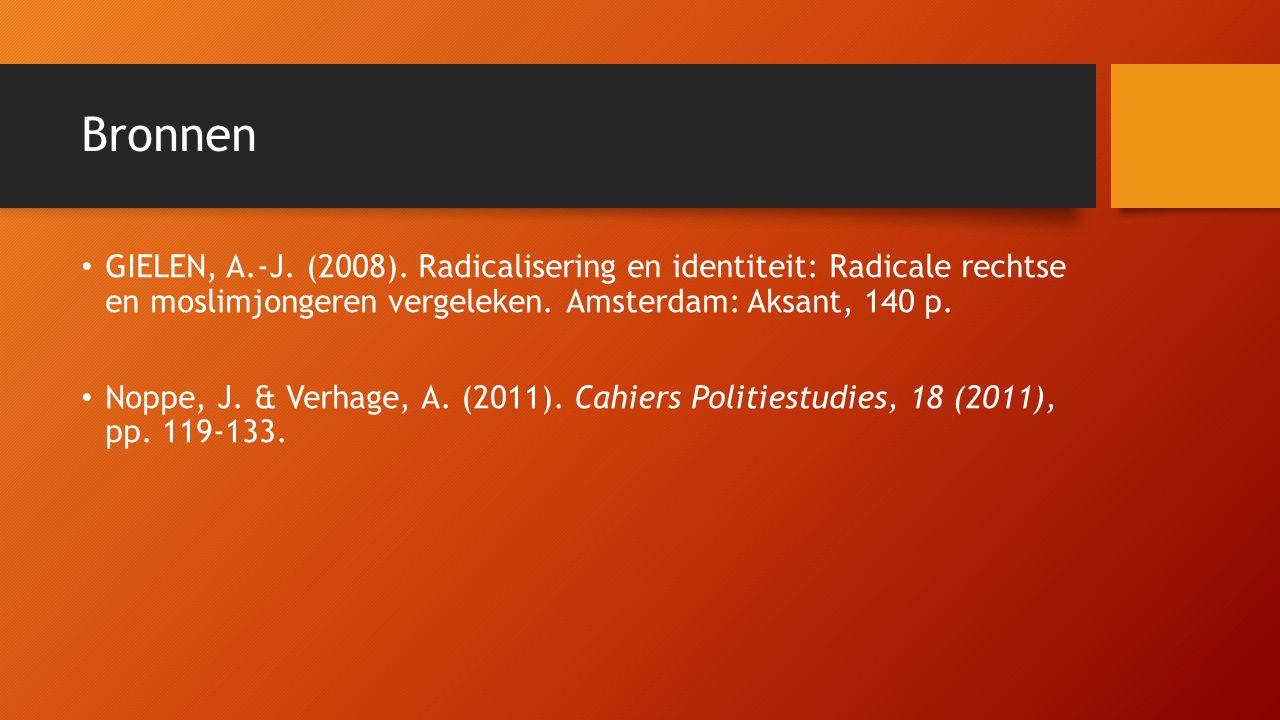 Bronnen GIELEN, A.-J. (2008). Radicalisering en identiteit: Radicale rechtse en moslimjongeren vergeleken. Amsterdam: Aksant, 140 p. Noppe, J. & Verha