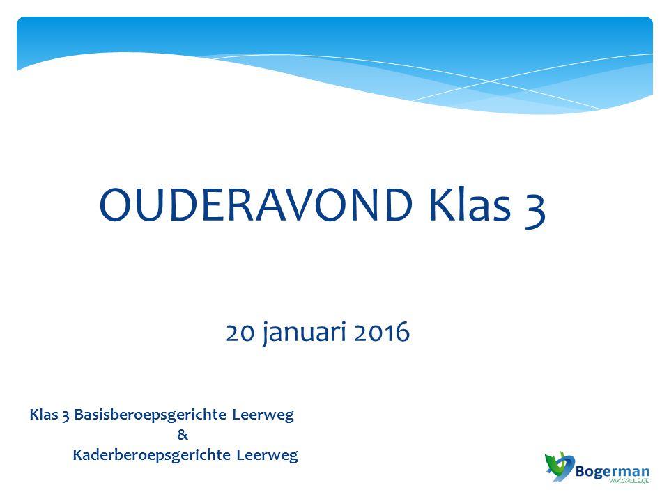 Klas 3 Basisberoepsgerichte Leerweg & Kaderberoepsgerichte Leerweg OUDERAVOND Klas 3 20 januari 2016