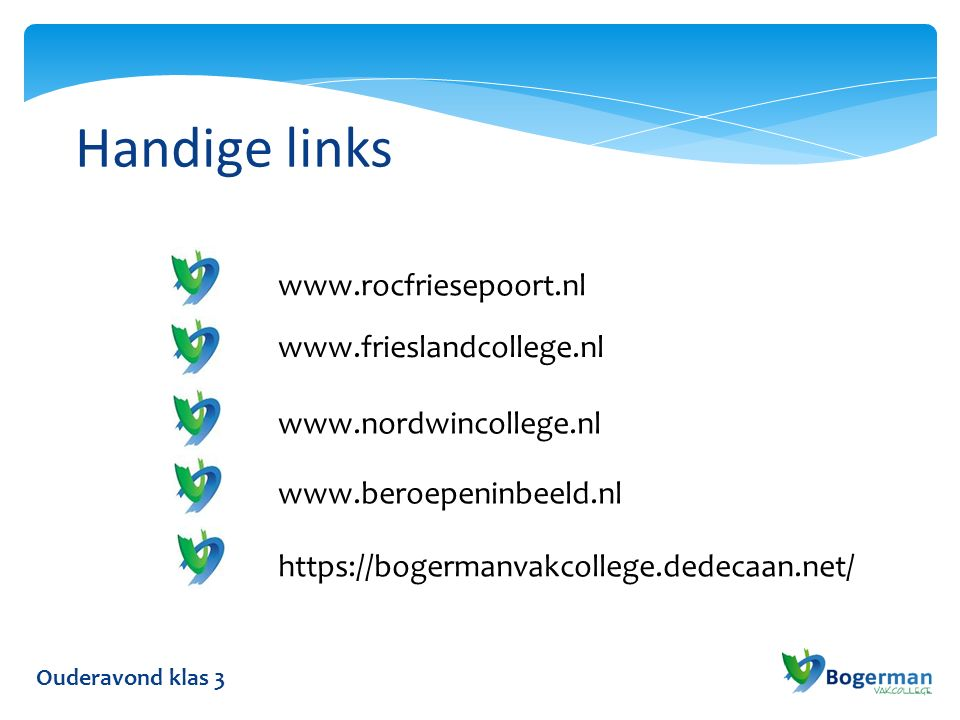Handige links Ouderavond klas 3 www.rocfriesepoort.nl www.frieslandcollege.nl www.nordwincollege.nl www.beroepeninbeeld.nl https://bogermanvakcollege.dedecaan.net/