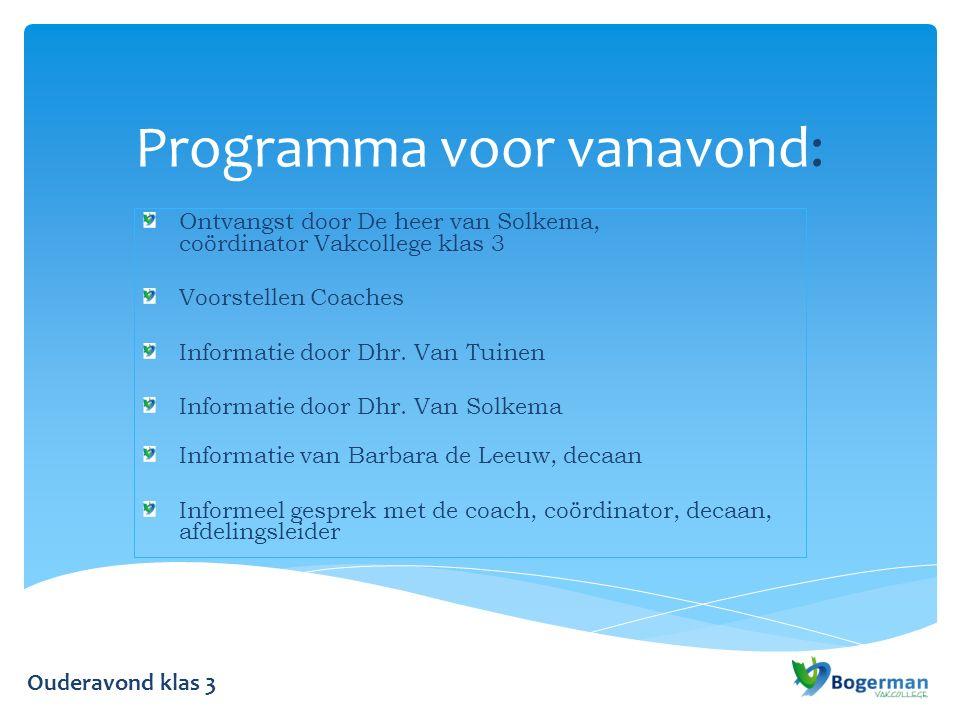 Programma voor vanavond: Ontvangst door De heer van Solkema, coördinator Vakcollege klas 3 Voorstellen Coaches Informatie door Dhr.