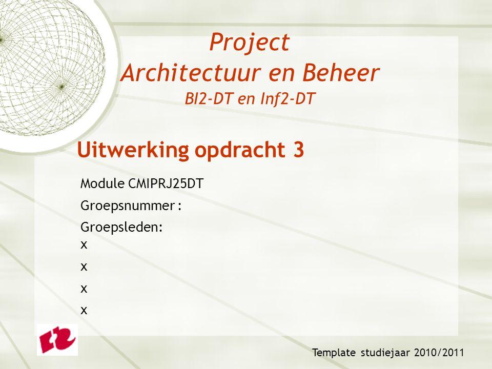 Project Architectuur en Beheer BI2-DT en Inf2-DT Module CMIPRJ25DT Groepsnummer : Groepsleden: x x Template studiejaar 2010/2011 Uitwerking opdracht 3