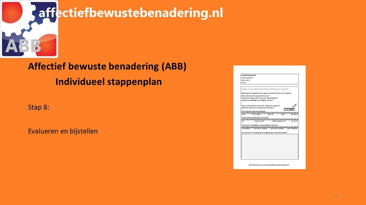 WORKSHOP ABB Affectief bewuste benadering (ABB) Individueel stappenplan Stap 8: Evalueren en bijstellen 10