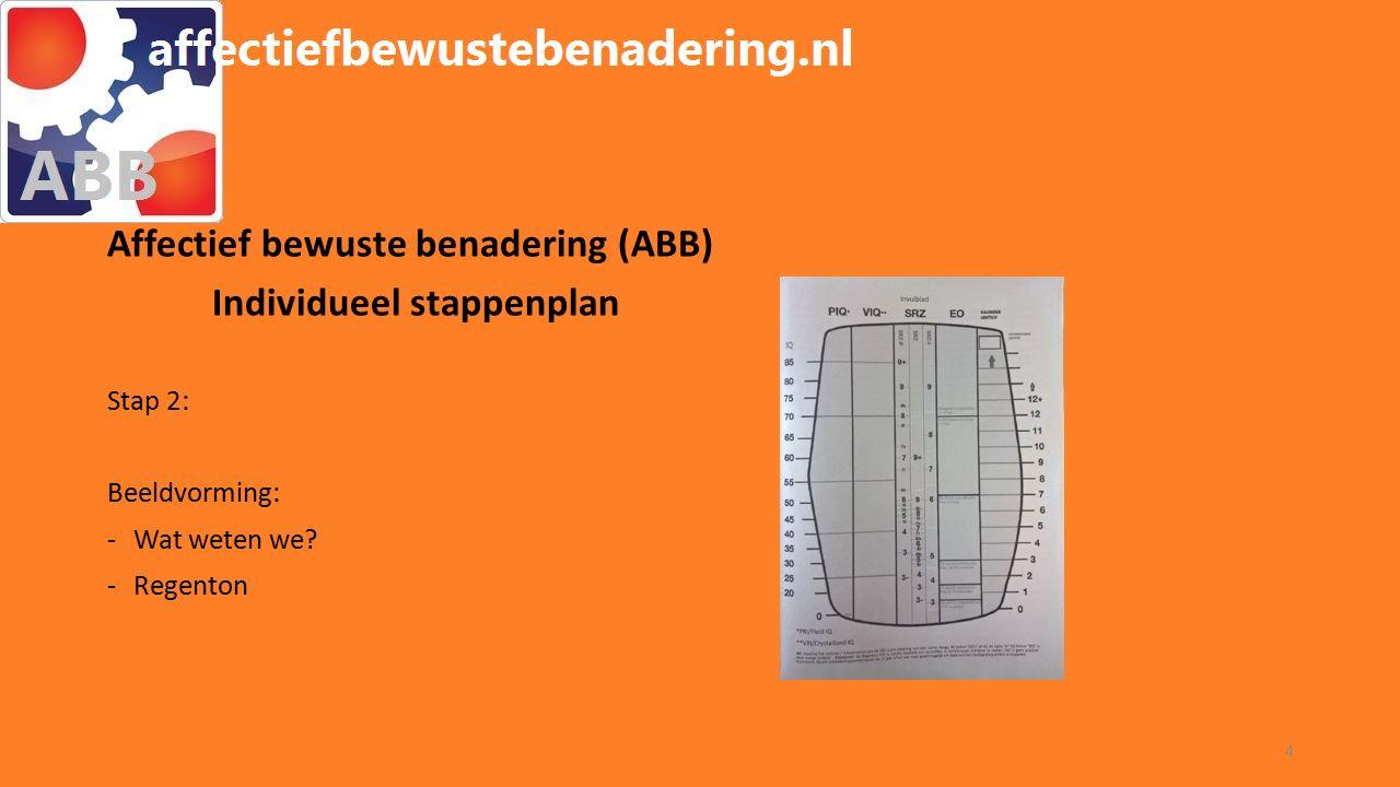 WORKSHOP ABB Affectief bewuste benadering (ABB) Individueel stappenplan Stap 3: Ondersteuningsbehoefte (vertaling beeldvorming): -Afstand/nabijheid.