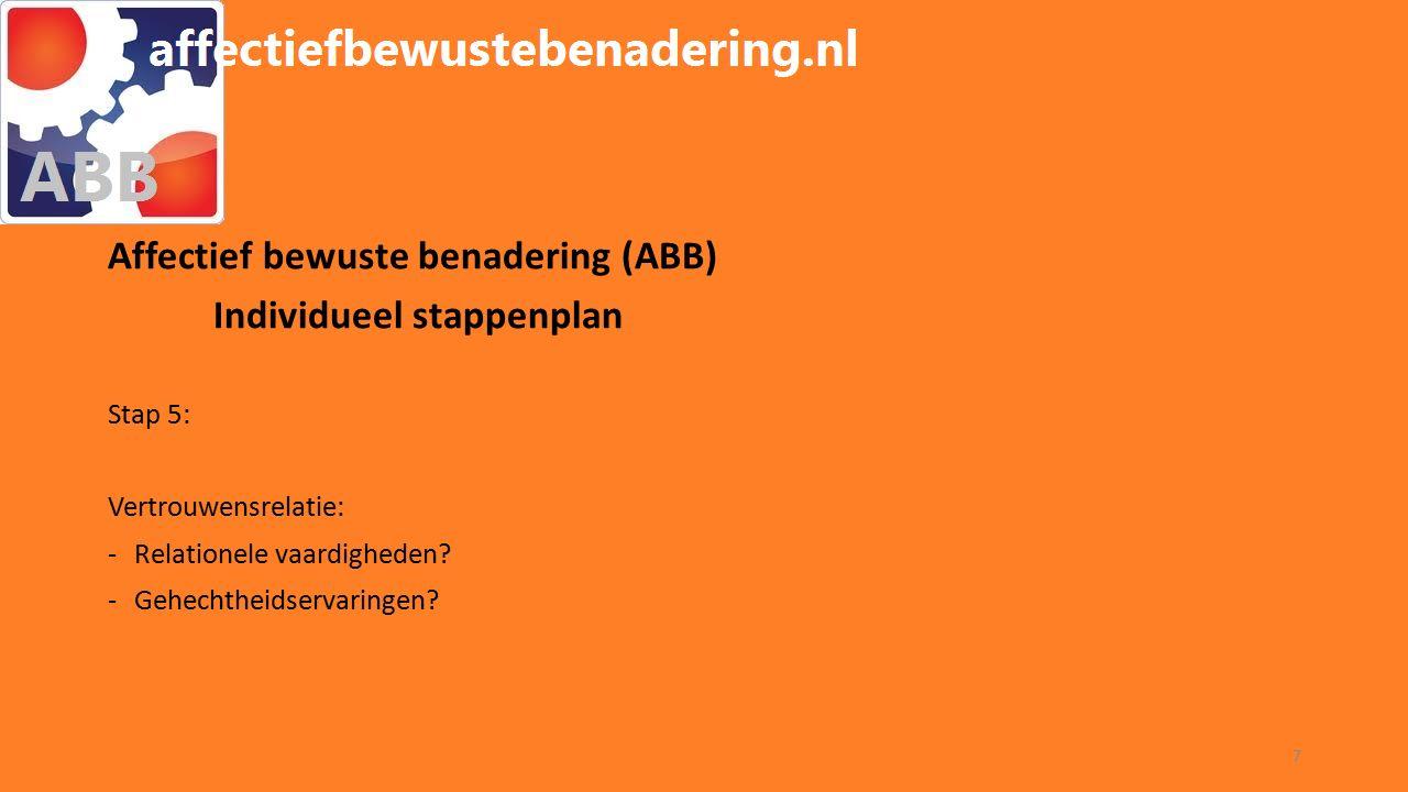 WORKSHOP ABB Affectief bewuste benadering (ABB) Individueel stappenplan Stap 5: Vertrouwensrelatie: -Relationele vaardigheden.