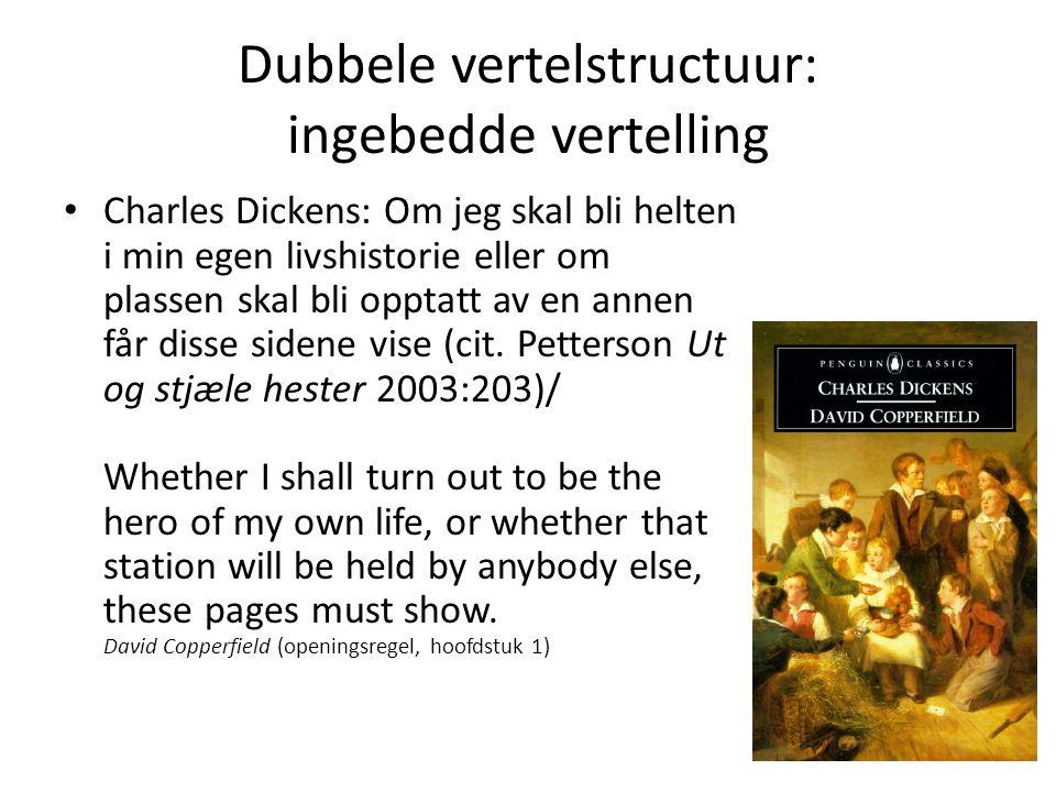 Dubbele vertelstructuur: ingebedde vertelling Charles Dickens: Om jeg skal bli helten i min egen livshistorie eller om plassen skal bli opptatt av en