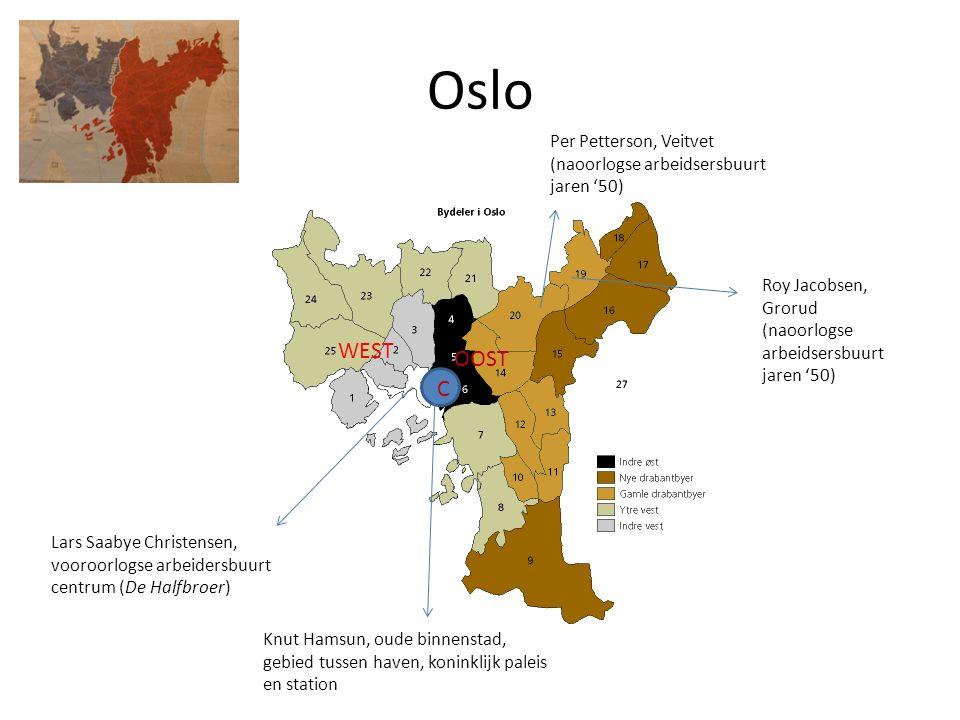 Oslo Lars Saabye Christensen, vooroorlogse arbeidersbuurt centrum (De Halfbroer) Knut Hamsun, oude binnenstad, gebied tussen haven, koninklijk paleis