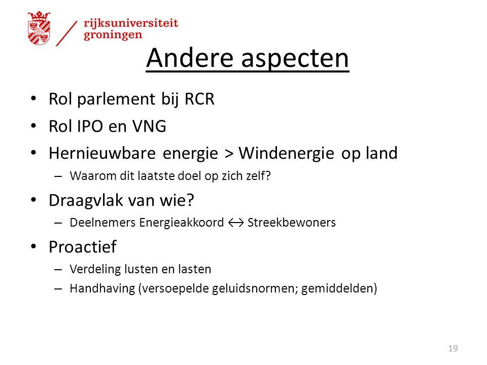 Andere aspecten Rol parlement bij RCR Rol IPO en VNG Hernieuwbare energie > Windenergie op land – Waarom dit laatste doel op zich zelf.